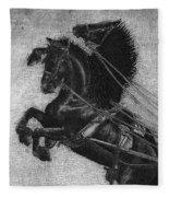 Rearing Horses Fleece Blanket by Eric Fan