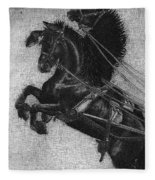 Rearing Horses Fleece Blanket