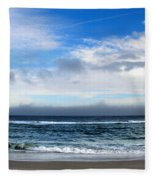 Receding Fog Seascape Fleece Blanket
