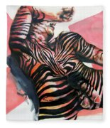 Reclined Striped And Symbolic  Fleece Blanket