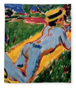 Reclining Blue Nude With Straw Hat Fleece Blanket
