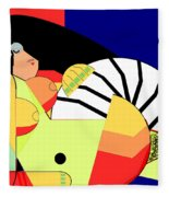 Reclining Nude In Blue And Red Fleece Blanket