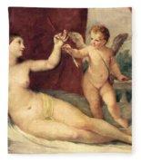 Reclining Venus With Cupid Fleece Blanket