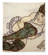 Reclining Woman With Green Stockings Fleece Blanket