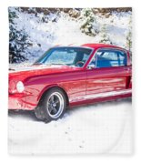 Red 1966 Ford Mustang Shelby Fleece Blanket