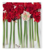 Red Amaryllis With Butterfly Fleece Blanket