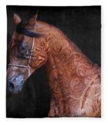 Red Ancient Horse No 01 Fleece Blanket