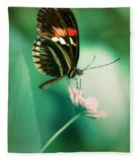 Red And Black Butterfly On White Flower Fleece Blanket
