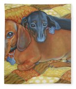 Red And Black Dachshunds - Best Buds Fleece Blanket