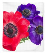 Red And Blue Anemone Flowers  Fleece Blanket