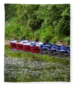 Red And Blue Boats On The River Coquet Fleece Blanket