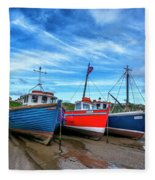 Red And Blue Fishing Boats Tenby Port Fleece Blanket
