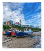Red And Blue Fishing Trawler In Low Tide Fleece Blanket