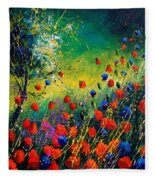 Red And Blue Poppies  Fleece Blanket