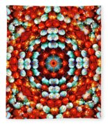 Red And Blue Stones Fleece Blanket