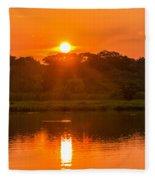 Red And Orange Jungle Sunset Fleece Blanket