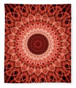 Red And Orange Mandala Fleece Blanket