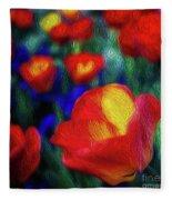 Red And Orange Tulips Fleece Blanket