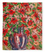 Red And Pink Poppies. Fleece Blanket