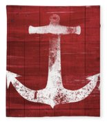 Red And White Anchor- Art By Linda Woods Fleece Blanket by Linda Woods