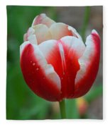 Red And White Bloom Fleece Blanket