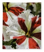 Red And White Petunia Fleece Blanket
