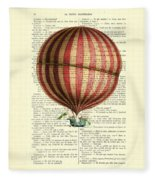 Red And White Striped Hot Air Balloon Antique Photo Fleece Blanket
