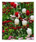 Red And White Tulips With Red And Pink English Daisies In Spring Fleece Blanket