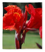 Red And Yellow Asiatic Lilies Fleece Blanket