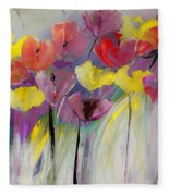 Red And Yellow Floral Field Painting Fleece Blanket
