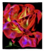 Red And Yellow Rose Fractal Fleece Blanket