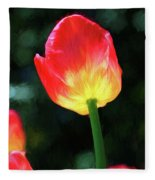 Red And Yellow Tulip - Photopainting Fleece Blanket