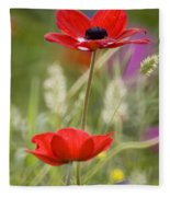 Red Anemone Coronaria In Nature Fleece Blanket