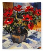 Red Anemones Fleece Blanket