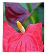 Red Anthurium Flower Fleece Blanket
