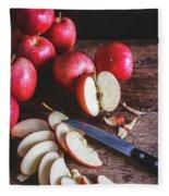 Red Apple Slices Fleece Blanket