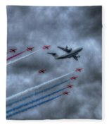 Red Arrows And A400m Airbus Fleece Blanket