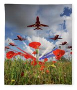 Red Arrows Poppy Fly Past Fleece Blanket