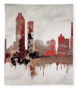 Red Atlanta Georgia Skyline Fleece Blanket