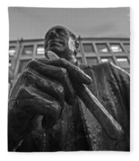 Red Auerbach Chilling At Fanueil Hall Black And White Fleece Blanket