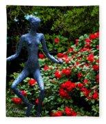 Red Azalea Lady Fleece Blanket