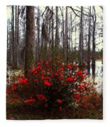 Red Azaleas In The Swamp Fleece Blanket