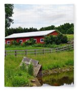 Red Barn By The Lake Fleece Blanket