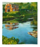Red Barn In Kennebunkport Me Fleece Blanket