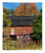 Red Barn In October Fleece Blanket