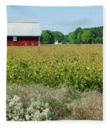 Red Barn In Pasture Fleece Blanket