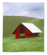 Red Barn In Spring Fleece Blanket