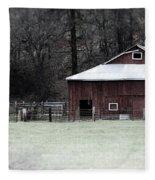 Red Barn On The Drive Fleece Blanket