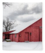 Red Barn On Wintry Day Fleece Blanket