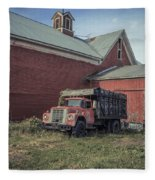 Red Barn Red Truck Fleece Blanket
